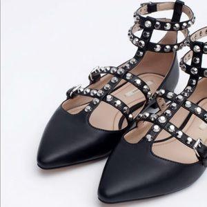 Zara black studded gladiator flats